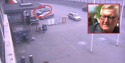 Det var dette bildet som gjorde at Per Jacob Buvig (innfelt) ble klar over at bilen hans (med rød ring rundt) var blitt påkjørt og hadde fått skader for flere titusener av kroner.
