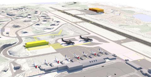 Torsdag 5. april ble konseptvalgutredningen for Evenes flystasjon lagt fram. Slik tenker Forsvaret å plassere hangaren for de maritime patruljeflyene, sør og vest for rullebanen.