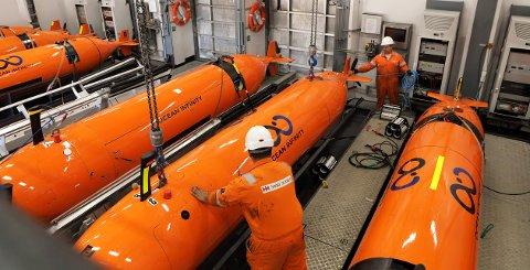KM: Vrdens største leteselskap til sjøss, Ocean Infinity har nylig sikret seg fem nye orange Hugin AUV fra Kongsberg Maritime i Strandpromenaden i Horten.