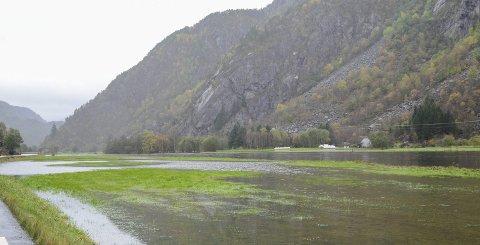 Vått på beitemarkene: Grunneier Einar Riise (innfelt) sier flere av bøndene i Oddadalen sliter med å skaffe nok fôr til dyrene som følge av gjentatte oversvømmelser og mye nedbør i sommer. Noen har allerede sett seg nødt til å ta vinterfôret i bruk.