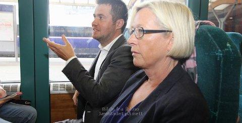 Geir Pollestad uttrykte eit sterkt ønskje om dobbeltspor vidare sørover Jæren til sjef og samferdsleminister Marit Arnstad.