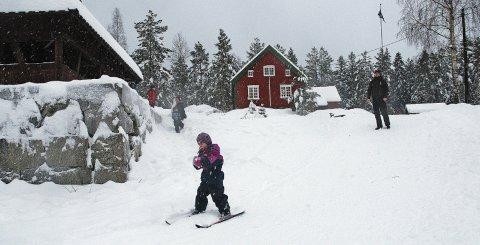 På ski: Ødemørk med stua er et yndet utfartssted for mossinger og folk i Vestby både sommer og vinter. Foto: Jon Gran