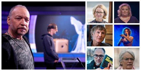 SPISTE PANNEBÅNDET: På direkten i NRK spiste Dagbladet-anmelder Anders Grønenberg pannebåndet til Grand Prix-vinner Tix. Bølgene går høyt også langs vestbredden av Mjøsa etter at Tix sa at om «en million fluer liker dritt, er ikke dritt bra». T.v. Anders Grønneberg, Tix, Anne Bjertnæs, Jørn Fodnestøl, Lasse Evensen, Mari Cathrine Brostuen Hagen, Sissel Morken Gullord og Bente Erichsen.