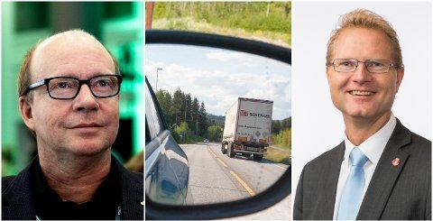 DEBATT: Ketil Kjenseth (til venstre) og Tor André Johnsen har ulike tanker om utformingen av Nasjonal transportplan.