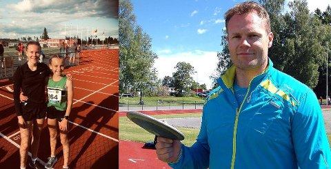 Hedret: Malin Søtorp Solberg (til høyre i bildet til venstre) etter en 1.500 meter-dyst mot ikke ukjente Ingrid Kristiansen. Til høyre: Morten Bredholt.