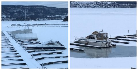 SYNET KAN BEDRA: På bildet til venstre har det nettopp falt nysnø, og det kan se ut til at snøen er trygg, frykter brevskriveren. Bildet til høyre viser forholdene når bobleanlegget har sørget for å tine den nærmeste snøen.