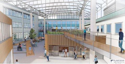 GLASSTAK: Et stort glasstak skal bygges mellom fire av de eksisterende bygningene.
