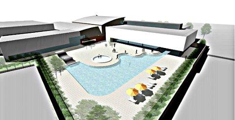 PLANEN: Den nye delen av Østfoldbadet vil få et utendørsbasseng og et nytt innendørsbassseng. Disse vil knyttes sammen med både en sluse for bruk hele året, samt at de store glassvinduene skal kunne heves for å knytte anlegget sammen.
