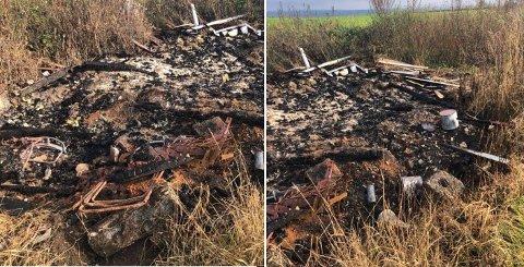 IKKE LOV: Disse bildene la Indre Østfold brann  og redning ut på Facebook for å vise et eksempel på bål hvor det har blitt brent gjenstander som ikke er lov å brenne.