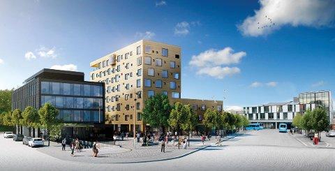 NYE TEGNINGER: Denne modellen viser hvordan Kammerherreløkka med hotellet og kontorbygget med tilhørende uteområder vil se ut.