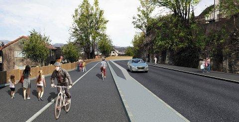 Sykkelveg med fortau: Langs rv. 36 mellom Klevstrand og Skrapeklev skal det blir tryggere (Illustrasjon: Rodrigo Solis Aguilera)