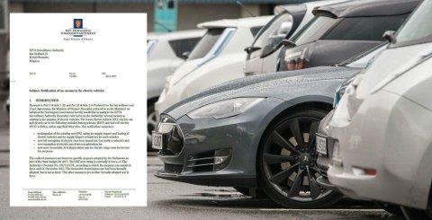 KAN FÅ STORE FØLGER: Regjeringen har nå sendt notifikasjon av skatte- og avgiftsfordeler for elbiler til ESA. Her ber de om forlengelse av det eksisterende fritaket for merverdiavgift på elbiler, økte avskrivingssatser for el-varebiler, samt nye fritak for elbiler i omregistreringsavgiften og trafikkforsikringsavgiften. Svarer ESA nei, vil det få store følger for prisene på elbiler i Norge.  Foto: Scanpix