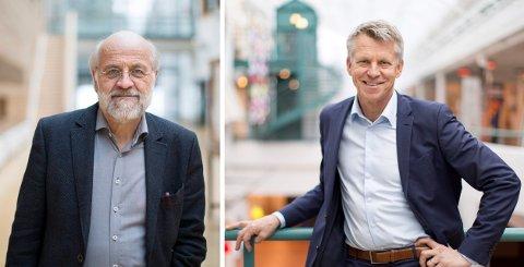 POSITIVT: Rektor Petter Aasen og prorektor Kristian Bogen ved Høgskolen i Sørøst-Norge snakker om alle fordelene ved at høgskolen ser ut til å bli godkjent som universitet før sommeren.