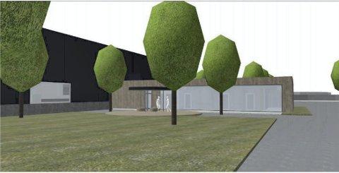 Miljøvennlig signaturbygg: Slik ser bygget Teknobad AS ønsker å bygge på Grenstøl ut. Bygget får grønt tak og miljøvennlige løsninger. Ill.:Trafo Arkitektur AS