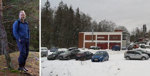 SETT SYDOVER: Her planlegges tre blokker med til sammen 36 leiligheter. Næringsbygget på bildet vil bli revet om planene går gjennom. Jan Häusler i Naturvernforbundet har protestert.