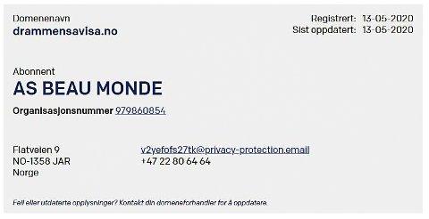 Faksimile fra Norid - register for noske domener.