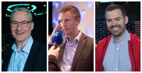 MANDAT: Torbjørn Vereide (AP), Erling Sande (Sp) og Olve Grotle (H) sikra seg mandat etter stortingsvalet måndag kveld.