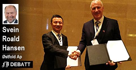 Det var for to uker siden Lars Dahle i Dignio og Liu Jiang, president i Yi Fang Group, signerte avtalen som begge var godt fornøyde med.   Svein Roald Hansen bruker den viktige avtalen som forklaring på hvorfor han er bekymret for angrep på internasjonal handel.