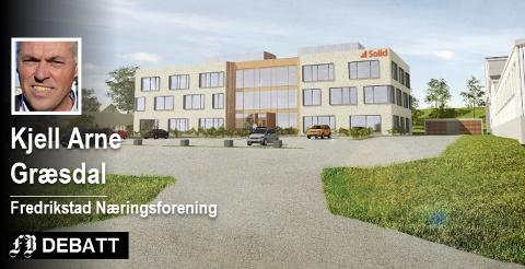 Solidgruppen ønsker å bygge plusshus, men fikk nei av hensynet til økonomien til Fredrikstad Fjernvarme. Modell:  Jon Bech Larsen/Stenseth Grimsrud Arkitekter AS