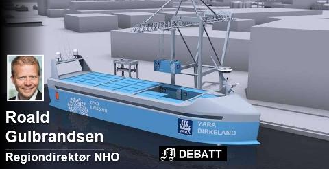 Yara Birkeland, som skal gå i rute i Telemark og Vestfold fra 2020, blir det første førerløse batteridrevne containerskipet i verden. Teknologien gir muligheter som også blir vurdert i vårt distrikt.  Foto: Telemarksavisa, Yara/Kongsberg Maritime