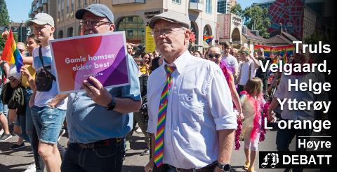 – Å frata mennesker retten til å være seg selv skaper ødelagte liv med dårlig psykisk helse, og et kaldere samfunn, skriver Velgaard og Ytterøy L'orange. Bilde fra årets Oslo Pride.