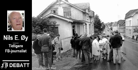 Lagretten på befaring utenfor drapsstedet i Glemmengaten 73 i juni 1970.  Rettssaken var berammet til fem dager, men sprengte alle rammer.