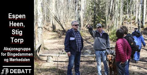 Fra kampen mot boligbygging i området våren 2018. Stig Torp (til venstre) samlet underskrifter den gang. På bildet ser vi han sammen med nabo Jan Egil Olsen som gikk tur med hunden, Tina Bergstrøm i Cicignon lokalsamfunnsutvalg og leder i Bymiljølista, Jonas Qvale.