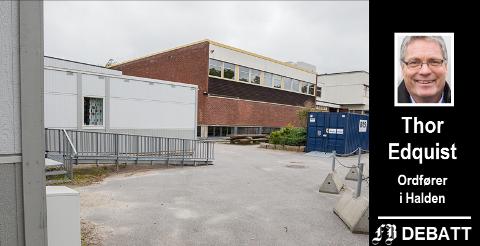 Brakkene ved Frederik II videregående skole i Fredrikstad taler sitt tydelige språk om behov for nytt skolebygg. Thor Edquist maner til å tenke nøye gjennom hvor energiaksjene kan gjøre mest nytte.