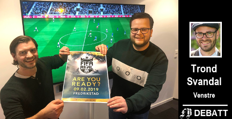 E-sport på fremmarsj: Stian Olbergsveen (til venstre) og Ole Martin Petersen fra Østfold bedriftsidrettskrets bød på noe nytt da de dro i gang «FIFA 4 real» i Østfold tidligere i år.