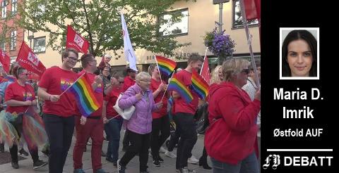 – Det eneste positive jeg fikk ut av å lese dette leserbrevet er en enorm glede over at det arrangeres Pride så mange steder i landet vårt, skriver Maria D. Imrik. Bilde fra tidligere Pride-opptog i Fredrikstad.