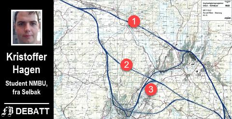 Mulige traseer som er beskrevet i høyshastighetsutredningen fra 1992: 1) Alternativ B.1. som med stasjon kun i Sarpsborg, 2) Alternativ B.2. med stasjon på Rolvsøy, i dag kjent som Rett linje. 3) Alternativ B.3.2. som har stasjon i Fredrikstad, krysser Glomma på Rolvsøy og går gjennom Borge og Skjeberg til Halden.