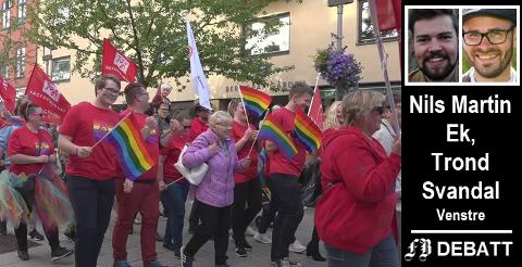 –  Pride et viktig arrangement for Fredrikstad-samfunnet, og vi er stolte av det, skriver Venstre-duoen Nils Martin Ek og Trond Svandal.