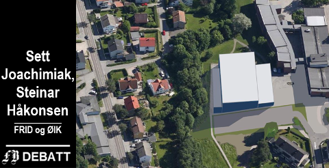 Modell som viser hvordan Trosvikhallen kan plasseres inntil skolen. Det er kjent at det er krevende grunnforhold på stedet.