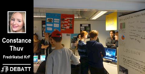Brevforfatter Constance Thuv går på Hans Nielsen Hauge vgs. fordi hun her får det beste tilbudet i Fredrikstad. Bilde fra et tverrfaglig prosjekt ved skolen i 2017.