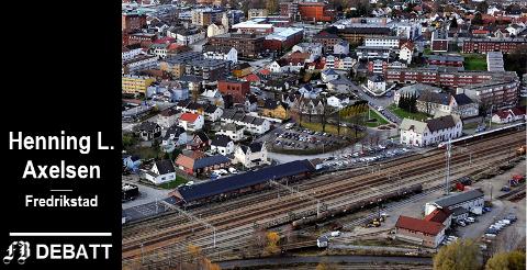 Sarpsborg stasjon. – Sarpsborg-aksjonen vil ha toget rett til sin by og la jernbanen gå utenom Fredrikstad, mener Axelsen.