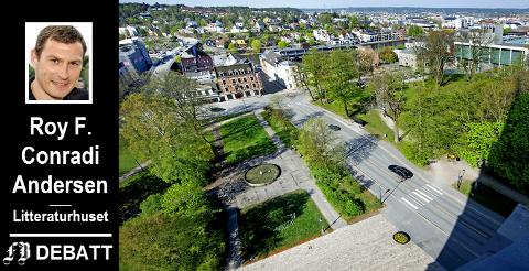 Ved å fjerne veien vil Roy F. Conradi Andersen la Lykkebergparken og Kirkeparken bli Fredrikstads svar på Central Park i New York.