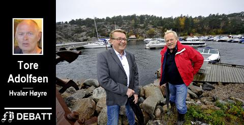 – Leder og gruppeleder i Hvaler Høyre har tidligere ikke vært med å behandle Åseruds planer for Skjærhalden, skriver Høyre-leder Tore Adolfsen. Bildet viser Arild Aaserød (til høyre) og ordfører  Eivind Borge da planene ble presentert i 2012.