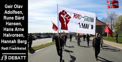 Rød seksjon i 1.-maitoget i Fredrikstad 2016.