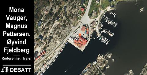 Småbåthavne ligger like ved Fjordfisk-bygget (markert med ett-tall) innerst i Utgårdskilen. Moloen er utenfor nedre bildekant.