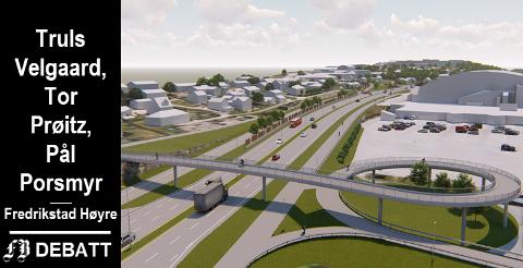 Modellen viser store dimensjoner for ny Rolvsøyvei forbi Østfoldhallen med firefelts motorvei og  sykkelekspressvei som Høyre vil erstatte med en 2,5 meter bred gang- og sykkelvei.   Illustrasjon: Statens vegvesen og Multiconsult