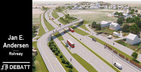 Det er store dimensjoner over vei og sykkelekspressvei på nye Rolvsøyveien. Modellen er fra Gullskåret der sykkelveien krysser firefeltsveien.  (Illustrasjon: Statens vegvesen og Multiconsult)