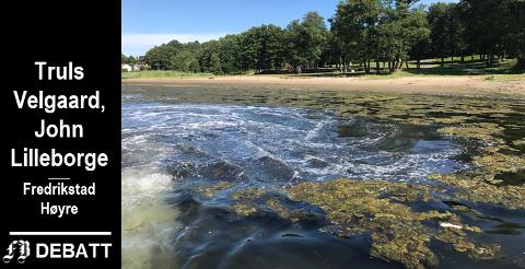 Omfattende tiltak trengs for å få akseptabel vannkvalitet i Vispen og Hunnebunn.  Bildet er fra sommeren 2017 da en dugnadsgjeng jobbet med å blåse bort  alger og tang.