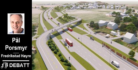 Sykkelekspressvei med to felter i tillegg til gangvei er sentralt når Høyre kritiserer kostnadene ved bypakken på FV 109. Modellen er fra Gullskåret. Illustrasjon: Statens vegvesen og Multiconsult