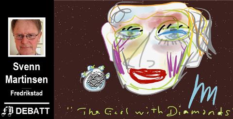 Er det noen som drar kjensel på damen? Eller diamantene? Tegning: Svenn Martinsen ©