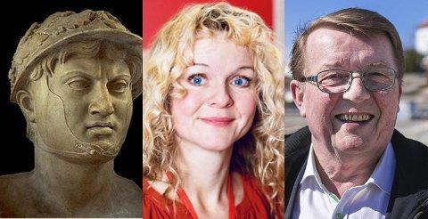 Tre «hærførere» som ifølge Carl-Erik Madsen er relevante for Hvaler-valget: Greske Pyrrhos, Aps Mona Vauger og Frps Eivind Borge.