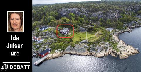 Slevik batteri. Hovedhuset som er reddet etter planutvalgets behandling i den røde firkanten.