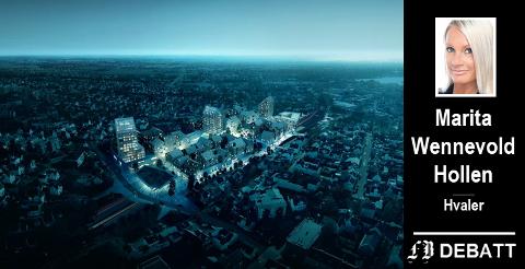 Olerud Eiendom engasjerte danske COBE Architects til å lage denne skissen for en mulig ny Fredrikstad stasjon på Dammyr. Det opplyste område er det som er ment å bli stasjonen på Dammyr. Vi ser Apenesfjellet til høyre for dette, og skimter Fredrikstadbrua i bakgrunnen.