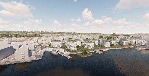 STORE PLANER: Solid-gruppen på Rolvsøy er en av utbyggerne som har planer for utbygging langs elvebredden på Gressvik. Denne skissen over ny blokkbebyggelse inkluderer for øvrig eiendommen til Fredrikstad Marineservice.