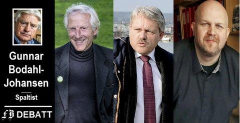 Tre som går klart ut: Bodahl-Johansen roser Henning Aall, MDG, og Bjørnar Laabak for tydelig støtte til varslerne. Også Vidar Schei har vunnet forfatterens fascinasjon etter at han erklærte at kommunen bør bla opp når det kommer til erstatningsbeløp.