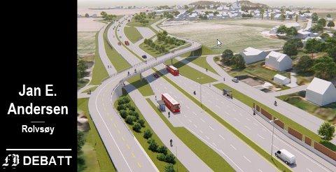 – Og hvilken standard på sykkelstier og bruer som skulle krysse denne motorveien, skriver Jan E. Andersen. Modellen viser gangvei og sykkelekspressvei slik det ble foreslått ved Gullskåret. Illustrasjon: Statens vegvesen og Multiconsult
